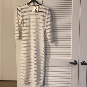 White Stripe Sheer Bodycon Dress